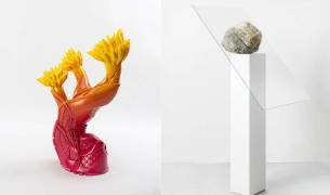 RESET, A3 online exhibition, Left, Patricia Picinnini, Shoeform (Sprout), 2019 Right, Alicja Kwade, Hemmungsloser Widerstand, 2018