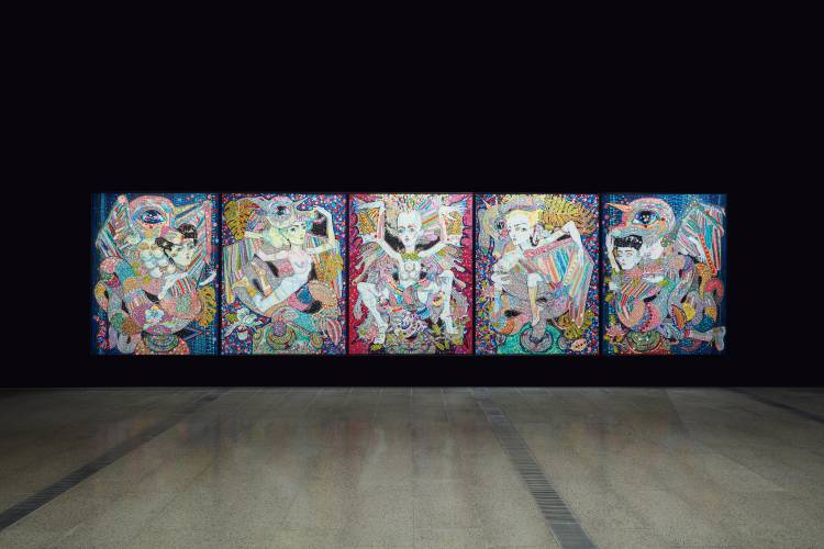 Del Kathryn Barton, the highway is a disco, National Gallery of Victoria, Installation view 6